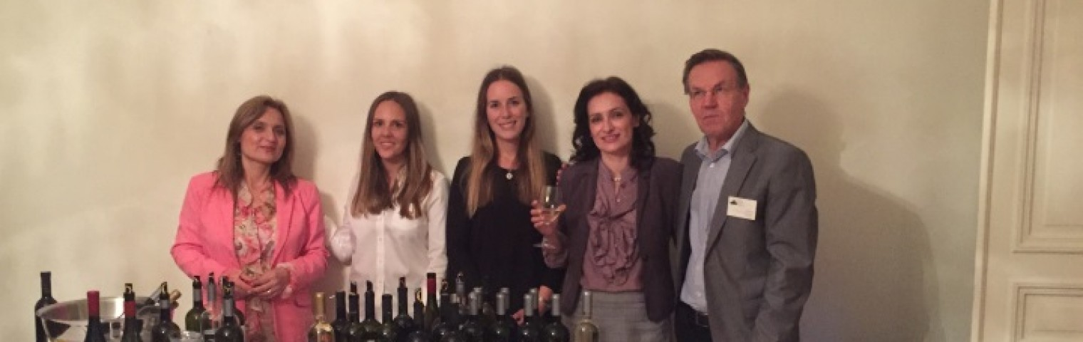 Emma Bill and Ebba Rönneskog attends the 'Wines of Macedonia' event at the Macedonian Embassy in Stockholm